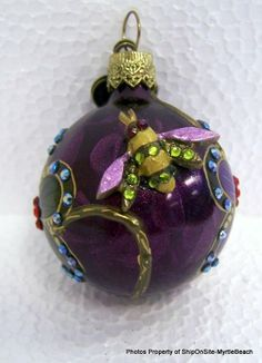 """Jay Strongwater Ornament ~ Glass ~ Jeweled Orb w/ Flowers & Bee ~1 1/2"""" D"""