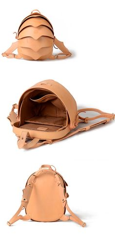 Zaino in pelle o Crossbody Bag-Small Nude Beetle di KiliDesign