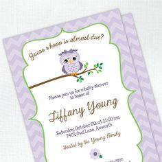 Owl Baby Shower Invitation - Baby Girl - by Tickled Peach Studio
