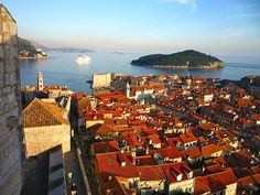 The Dubrovnik Old Town with Lokrum island in the background.