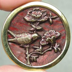Brass Picture Button Bird Flowers Metal   eBay