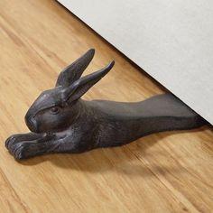 Stretching Rabbit Doorstop Cast Iron Bunny Statue Door Stop Home ...