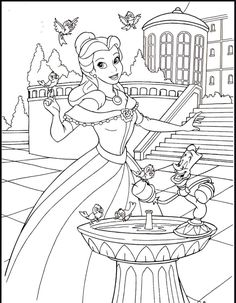 Belle At The Palace Coloring Pages-lots of printable coloring pages of these Disney Princesses-Ariel, Aurora, Belle, Cinderella, Jasmine, Merida, Mulan, Pocahontas, Rapunzel, and Tiana