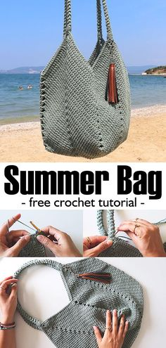 knit crochet Summer Bag Crochet - Stricken ist so - Crochet Diy, Crochet Bag Tutorials, Free Crochet Bag, Crochet Tote, Crochet Handbags, Crochet Purses, Crochet Crafts, Crochet Hooks, Crochet Patterns