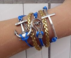 ancient silver anchor bracelet lighting bracelet  by Colorbody, $6.29