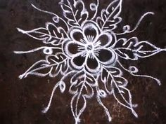 Rangoli Flower Kolam Design with free hand lines - YouTube