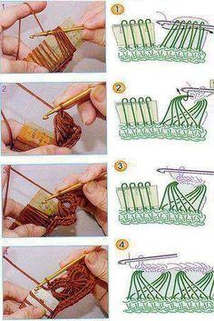 23 Ideas Crochet How To Broomstick Lace Crochet Stitches Patterns, Crochet Chart, Crochet Motif, Diy Crochet, Knitting Patterns, Crochet Tunic, Freeform Crochet, Crochet Dresses, Crochet Tops
