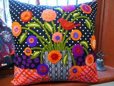 colorful wool applique | colorful appliqued pillow