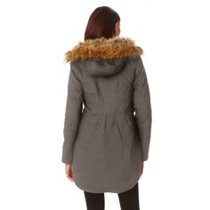 Pretty pleating at the waist makes this flattering parka warm AND feminine. The detachable drawstring faux fur hood instantly ups the coziness levels. Faux fur.Lining Material: 100% PolyesterShell Material: 100% CottonFill: 100% PolyesterCare Instructions Remove fur before washing. Machine wash cold with like colors. Tumble dry low.Model Height: 62Model is wearing size SProduct Details: Fits true to size, full-length sleeve, not water resistant or proof, hits at top of thigh, 4 pockets, 2…