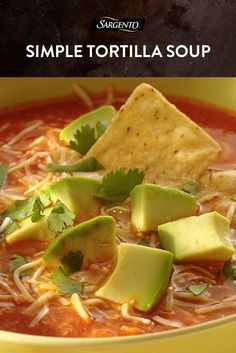 Soup recipes are perfect for a simple, filling dinner on a cold day. Our gluten-free tortilla soup takes traditional ingredients and adds extra flavor with diced avocado and a generous sprinkle of Sargento® Artisan Blends® Shredded Authentic Mexican Chees Mexican Tortilla Soup, Mexican Soup Recipes, Mexican Cheese, Mexican Dishes, Chicken Recipes, Dinner Recipes, Chicken Tortilla Soup, Tortilla Chips, Cheese Recipes