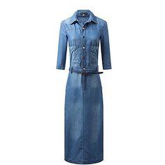 media manga vestido de dril de algodón delgado da vuelta-abajo de las mujeres – MXN $ 591.68