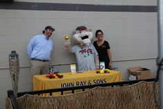 Tri-City ValleyCats mascot, South Paw, joins John Ray & Sons sales team at the table!