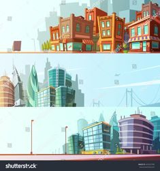 Modern and historical bay area street view day skyline 3 horizontal banners set cartoon isolated vector illustration
