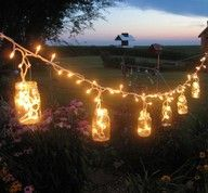 Outside easy decorations. Love lights outside and this is so cute in the glass jars! Could be a DIY