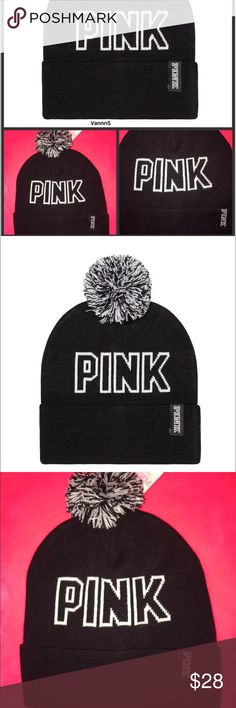 Pink VS black beanie logo pom pom NWT SEALED Brand new with tags, sealed.  Size: one size fits all  Product Details  The cutest beanie ever is back and soooo cozy!  • Cozy  • One size fits all  • Imported acrylic PINK Victoria's Secret Accessories Hats