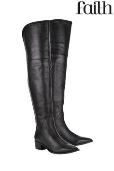 Buy Clarks Bizzy Girl Black Leather Knee High Boot from the Next ...
