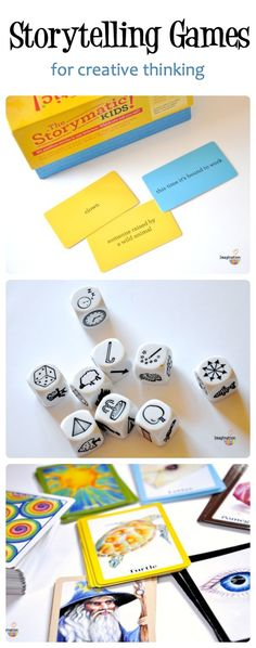 storytelling games for kids to spark creative thinking...love the pictures idea. I could totally do this with my blank wooden cubes when the kiddos are composing music (this way they can't complain that they don't know what to write about lol)!