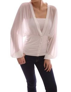 V Neck Semi Sheer Chiffon Bishop Long Sleeve Fitted Waist Pullover Blouse. Buttons are for embellishment.