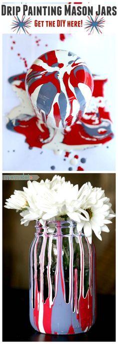 Drip Painting Mason Jars DIY