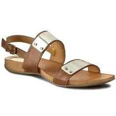 Sandały CARINII - B2048  Piaskowy/Złoto
