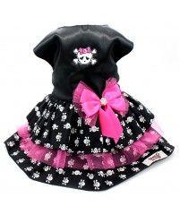 Vestido Preto com Rosa Estampa Caverinhas - Coleção Princesas