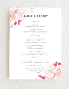 The Watercolor Bouquet Wedding Menus feature pink florals in opposite corners against a white background. Customize these cards with endless combinations of colors and fonts. #cuteweddingmenus #springweddingmenus #summerwweddingmenus Summer Wedding Colors, Spring Wedding, Wedding Menu, Rustic Wedding, Bouquet Wedding, Wedding Flowers, Flower Cake Decorations, Bridal Party Invitations, Wedding Trends