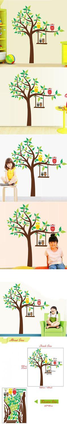 Cute Blossoms Corner Decorative Tree Wall Sticker Nursery Kids Bedroom  Sweet Decor CHildren Tree Pattern Vinyl Mural Decals T 4