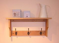Pine Storage Solutions : Peg Rails & Coat Racks : Wooden Shelf with Coat Hooks