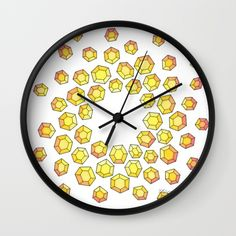 """Yellow Diamonds Wall Clock Frame Available in Natural Wood, Black or White. Black or White Hands Available.  10"""" Diameter.  $30.00"""