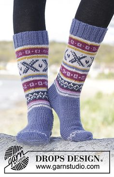 "Knitted DROPS socks with Norwegian pattern in ""Karisma"""