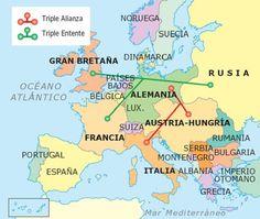 Mapa de las alianzas durante la guerra