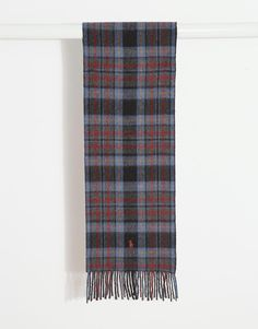 """Scarf by Polo Ralph Lauren Wool-rich fabric Reversible check design Signature Polo logo Fringed trims Wraparound style Machine wash 80% Wool, 20% Nylon L: 160cm/63"""" W: 25cm/10"""""""
