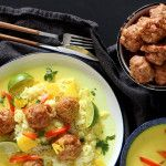 Spicy Thai Chicken Meatballs in a Coconut Broth