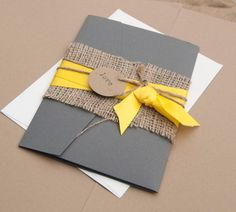 Rustic wedding invitation, yellow and gray, Burlap pocket wedding invitation on Etsy, $3.37 AUD