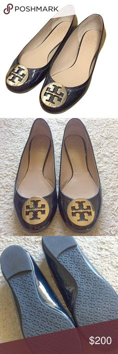 🔸TORY BURCH🔸Patent Reva Flats Super cute 💯% authentic Tory Burch Patent Revas in bright navy. The color is a dark navy blue. Runs 1 size small. I am a size 7 & I still had to try stretching them because its patent leather. Only worn a couple times. Feel free to make offers! Tory Burch Shoes Flats & Loafers