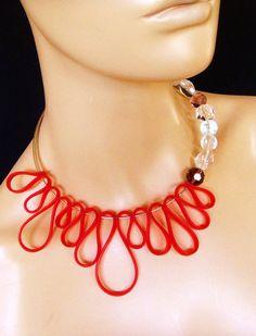 Rosso collana di gomma gomma rosso gioielli collana in di vess65, $20.00