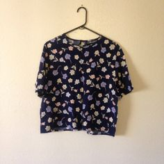 ONE DAY SALE Vintage Top - 1990s Navy Blue and Pastel Boxy Oversize Floral Top