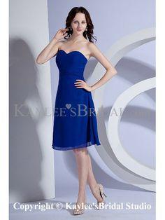 Chiffon Sweetheart Knee-Length A-line Bridesmaid Dress with Sash