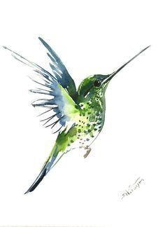 Flying Hummingbird, 12 X 9 in, original watercolor painting, flying bird art minimalist green