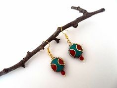 Nepal Earrings  Ethnic Earrings  Turquoise and Coral by GULDENTAKI