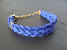 Armbänder - Geflochtenes Schlaufenarmband blau / gold - ein Designerstück von buntezeiten bei DaWanda