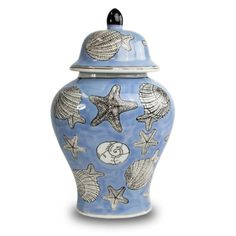 Seashell Ceramic Memorial Urn for Adults - Large - Holds Up To 200 Cubic Inches of Ashes - Blue Cremation Urn for Ashes - Engraving Sold Separately Hand Molding, Cremation Urns, Sympathy Gifts, Centerpiece Decorations, Flower Vases, Ceramic Pottery, Biodegradable Products, Sea Shells, Vibrant Colors