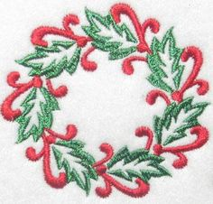 christmas monogram designs | Wreath Christmas #2 Embroidery Design. Perfect for a kitchen towel.