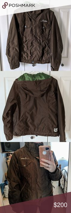 **final price**Burton snow jacket coat women's Deep brown waterproof outside, with grass green satin lining. Has zippered air vents in armpits. Adjustable sizing around waist and wrists (bungee band also so snow can't come in). No holes or defects! Pockets everywhere haha I just moved down south and no longer need a cold weather coat  comes from a clean smoke free home. Great for snowboarding or skiing... Or in my case, tubing 藍 Burton Jackets & Coats Utility Jackets