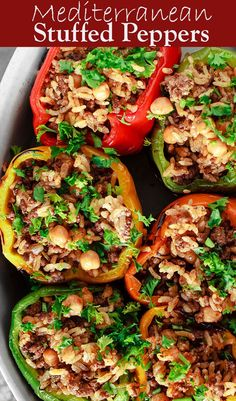 These Mediterranean Stuffed Peppers are the best! The rice stuffing with perfectly spiced meat, chickpeas, and fresh herbs is amazing. The recipe comes with video and a step-by-step tutorial. You can't go wrong with this dis Easy Mediterranean Diet Recipes, Mediterranean Dishes, Mediterranean Style, Mediterranean Diet Breakfast, Healthy Dinner Recipes, Cooking Recipes, Heart Healthy Recipes, Veggie Recipes, Diet Meal Plans