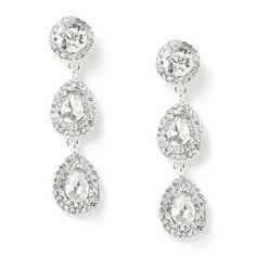 #jeweltweets Silver Crystal Rhinestone 1 Round Circle 2 Teardrop Pear Shape Combination Dangle Earrings