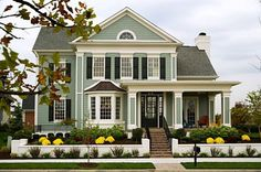 I adore this house. Architecture, shutters, porch, colors, everything. THIS is my dream home. - Home Decor Life House Paint Exterior, Exterior Paint Colors, Exterior House Colors, Paint Colors For Home, Exterior Design, Exterior Shutters, Gray Exterior, Future House, My House
