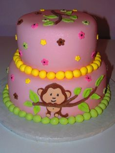 babyshower themes monkeys | Monkey Girl Baby Shower Cake