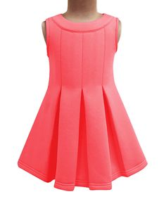 Take a look at this A.T.U.N. Coral Pleated A-Line Dress - Infant, Toddler & Girls today!