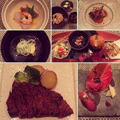Steak is ruined for me now...enjoying a Kobe beef #kaiseki. Happy #honeymoon @chrisreynoldsuk! #instafood #wanderinggourmand #yesthatiskobebeefsushi by maebellyne_r